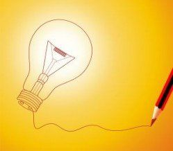 Lightbulb and pencil
