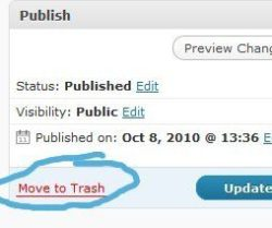 "Image of Wordpress backend with ""move to trash"" circled"