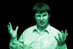 Angry man gesturing