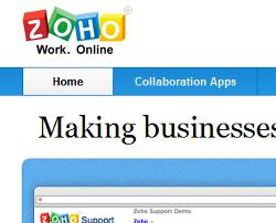 Screencap of Zoho front page