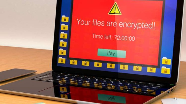 PC with ransomware demand message on screen