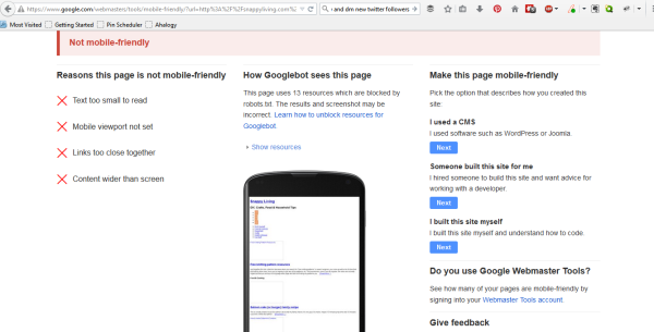 Google mobile test tells you if they see your site as mobile friendly