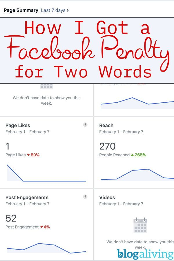 Is there such a thing as a Facebook Penalty? Read why I believe one of my pages got a penalty because of just two words I used. #facebookmarketing #socialmediatips #bloggingtips #socialmediamanagement