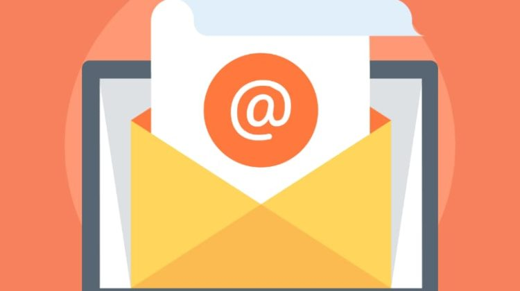 Stylized letter with email symbol sticking out of an envelope