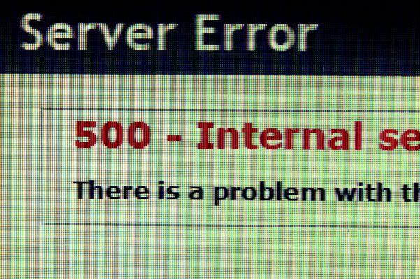 Screenshot of server error 500
