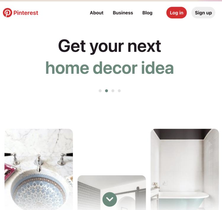Pinterest homepage screenshot