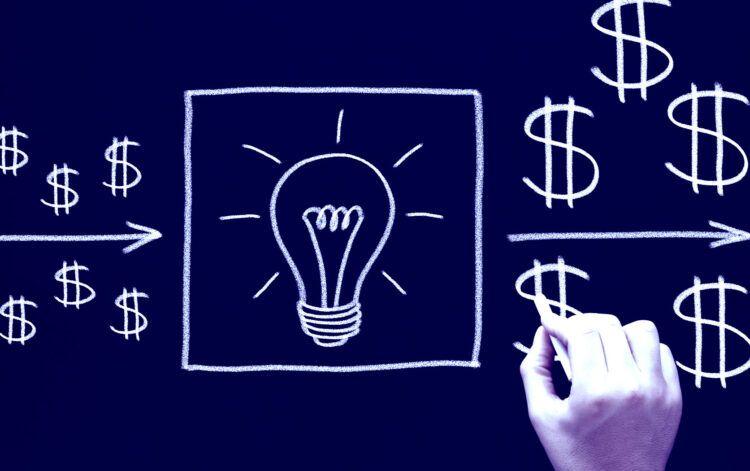 Chalkboard illustration of lightbulb and dollar signs